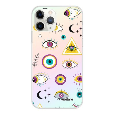 Coque iPhone 11 Pro silicone fond holographique Multi Yeux Design Evetane