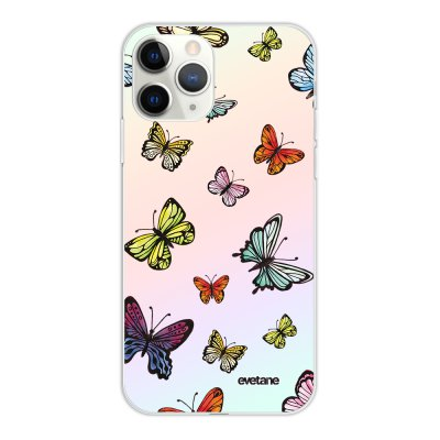 Coque iPhone 11 Pro silicone fond holographique Papillons Multicolors Design Evetane