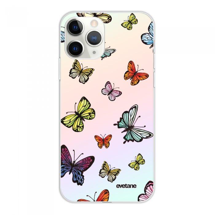 Coque iPhone 11 Pro silicone fond holographique Papillons Multicolors Design Evetane