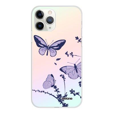 Coque iPhone 11 Pro silicone fond holographique Papillons Violets Design Evetane
