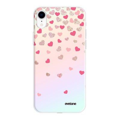 Coque iPhone Xr silicone fond holographique Coeurs en confettis Design Evetane