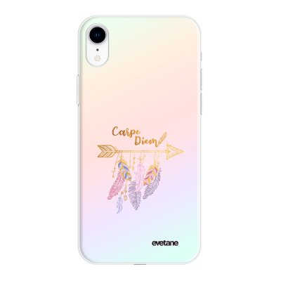 Coque iPhone Xr silicone fond holographique Carpe Diem Or Design Evetane