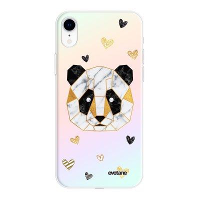 Coque iPhone Xr silicone fond holographique Panda Géométrique Design Evetane