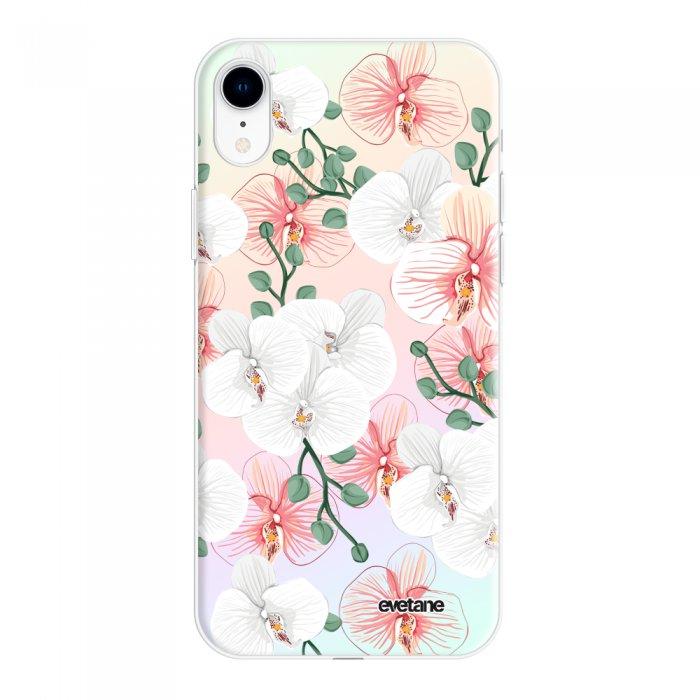 Coque iPhone Xr silicone fond holographique Orchidées Design Evetane