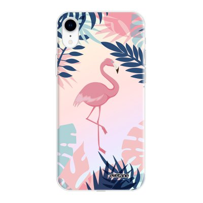 Coque iPhone Xr silicone fond holographique Flamant Tropical Design Evetane