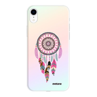 Coque iPhone Xr silicone fond holographique Attrape Rêve Rose Fushia Design Evetane