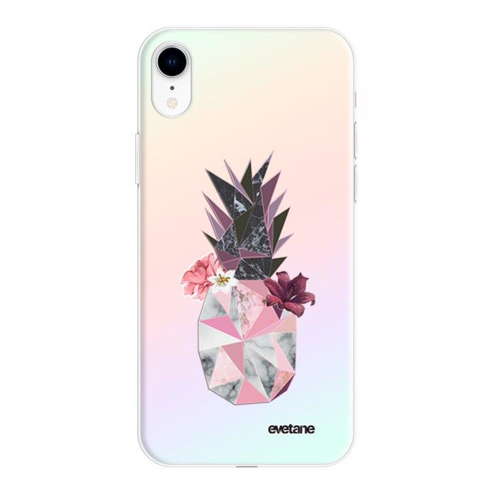 Coque iPhone Xr silicone fond holographique Ananas Fleuri Design Evetane