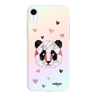 Coque iPhone Xr silicone fond holographique Panda Géométrique Rose Design Evetane