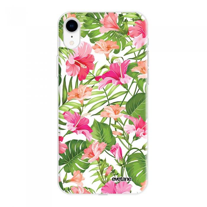 Coque iPhone Xr silicone fond holographique Fleurs Tropicales Design Evetane