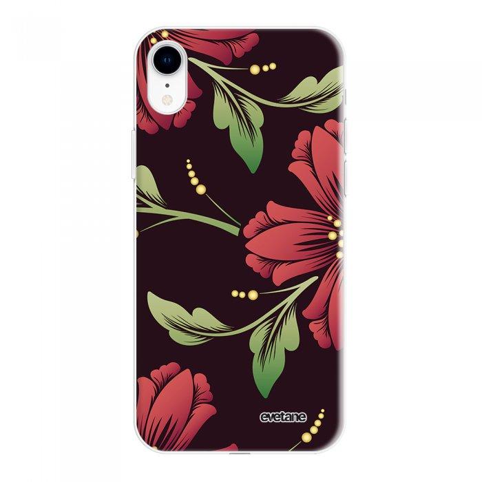 Coque iPhone Xr silicone fond holographique Lys Bordeaux Design Evetane