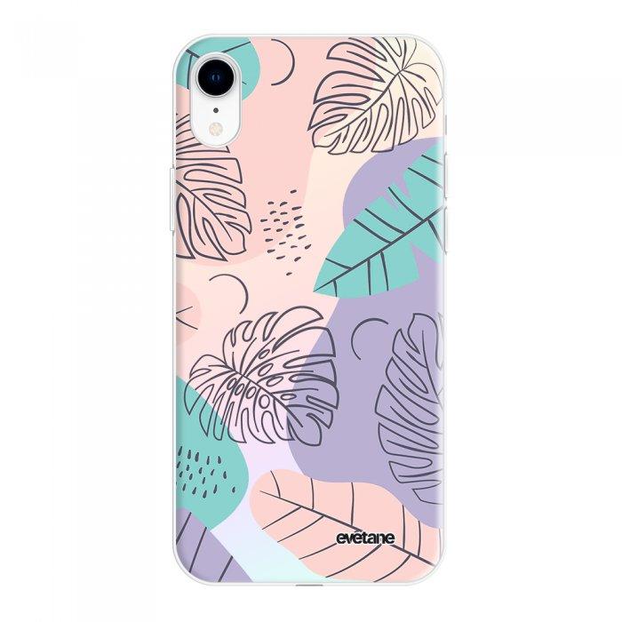 Coque iPhone Xr silicone fond holographique Feuilles Pastels Design Evetane