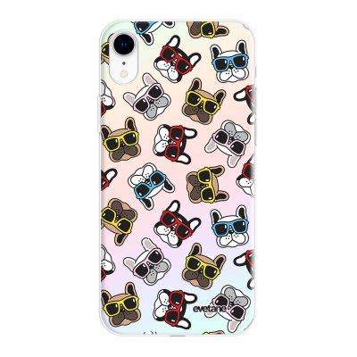 Coque iPhone Xr silicone fond holographique Chiens à Lunettes Design Evetane