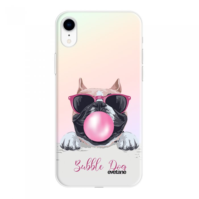 Coque iPhone Xr silicone fond holographique Bubble Dog Design Evetane