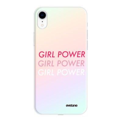Coque iPhone Xr silicone fond holographique Girl Power Dégradé Design Evetane