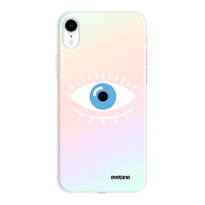 Coque iPhone Xr silicone fond holographique Oeil Bleu Design Evetane