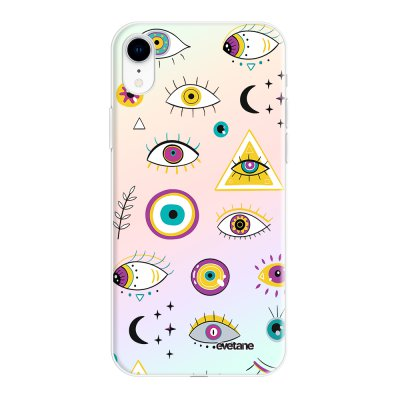 Coque iPhone Xr silicone fond holographique Multi Yeux Design Evetane