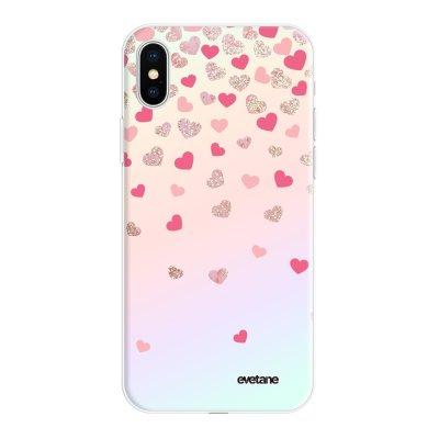Coque iPhone X/Xs silicone fond holographique Coeurs en confettis Design Evetane