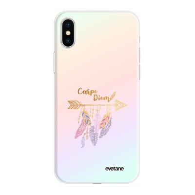 Coque iPhone X/Xs silicone fond holographique Carpe Diem Or Design Evetane