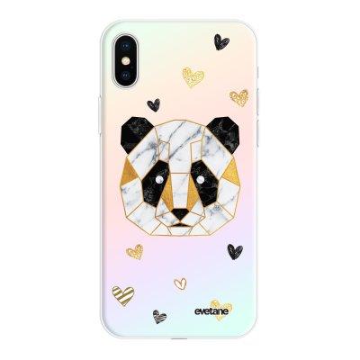 Coque iPhone X/Xs silicone fond holographique Panda Géométrique Design Evetane