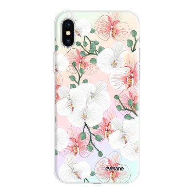 Coque iPhone X/Xs silicone fond holographique Orchidées Design Evetane