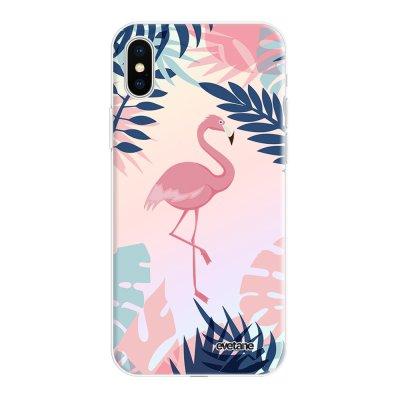 Coque iPhone X/Xs silicone fond holographique Flamant Tropical Design Evetane