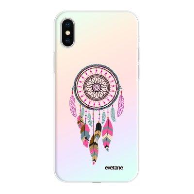 Coque iPhone X/Xs silicone fond holographique Attrape Rêve Rose Fushia Design Evetane