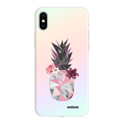 Coque iPhone X/Xs silicone fond holographique Ananas Fleuri Design Evetane
