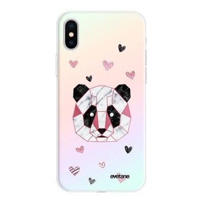 Coque iPhone X/Xs silicone fond holographique Panda Géométrique Rose Design Evetane