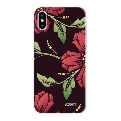 Coque iPhone X/Xs silicone fond holographique Lys Bordeaux Design Evetane