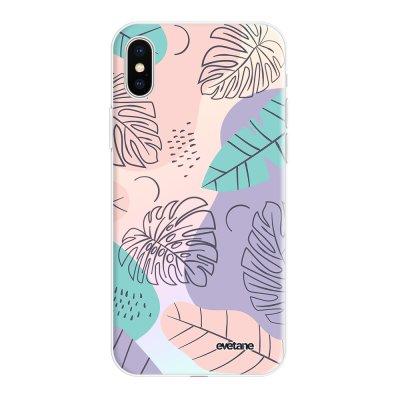 Coque iPhone X/Xs silicone fond holographique Feuilles Pastels Design Evetane