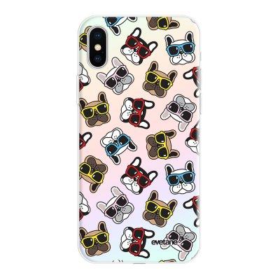 Coque iPhone X/Xs silicone fond holographique Chiens à Lunettes Design Evetane