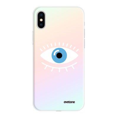 Coque iPhone X/Xs silicone fond holographique Oeil Bleu Design Evetane