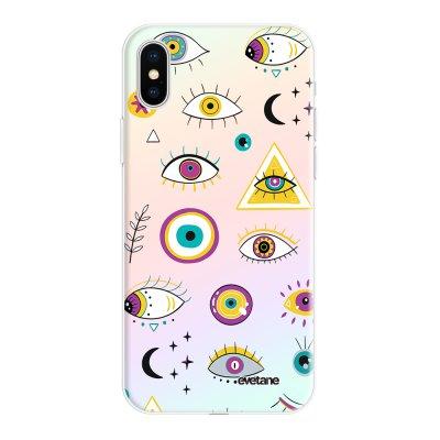 Coque iPhone X/Xs silicone fond holographique Multi Yeux Design Evetane