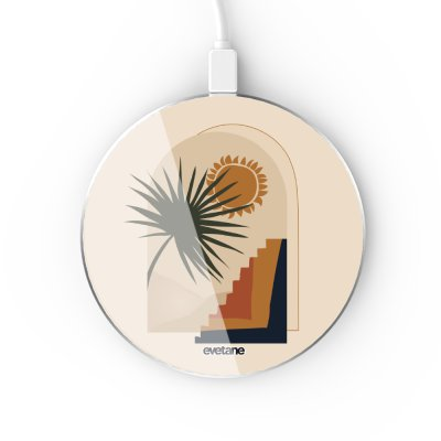 Chargeur Induction contour argent blanc Palmier et Soleil beige Evetane