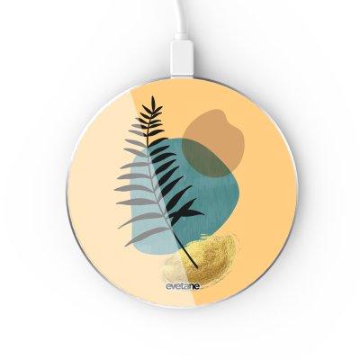 Chargeur Induction contour argent blanc Feuille noir et pierre bleue Evetane