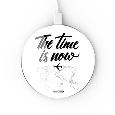 Chargeur Induction contour argent blanc The time is Now Evetane