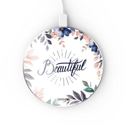 Chargeur Induction contour argent blanc Beautiful Evetane