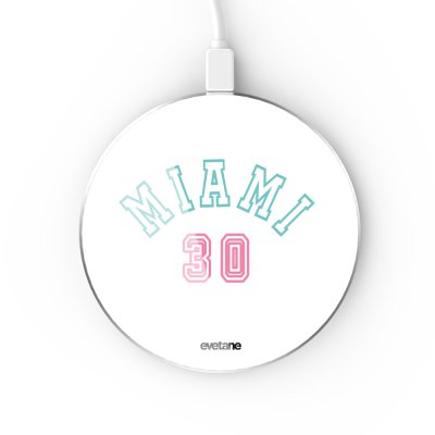 Chargeur Induction contour argent blanc Miami 30 Evetane