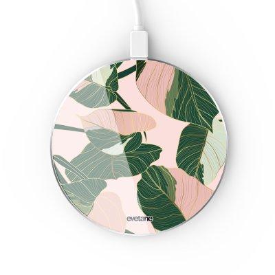 Chargeur Induction contour argent blanc Feuilles vertes et roses Evetane