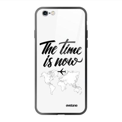 Coque en verre trempé iPhone 6 Plus / 6S Plus The time is Now Ecriture Tendance et Design Evetane.