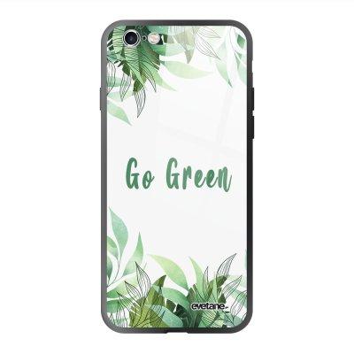 Coque en verre trempé iPhone 6 Plus / 6S Plus Go green Ecriture Tendance et Design Evetane.