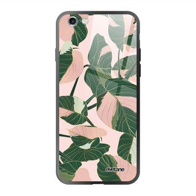 Coque en verre trempé iPhone 6 Plus / 6S Plus Feuilles vertes et roses Ecriture Tendance et Design Evetane.