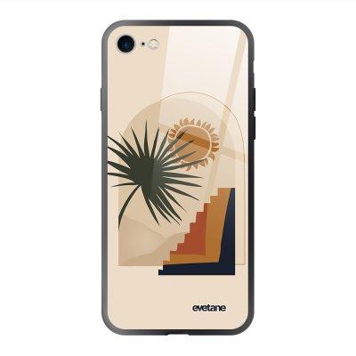 Coque en verre trempé iPhone 7/8/ iPhone SE 2020 Palmier et Soleil beige Ecriture Tendance et Design Evetane.