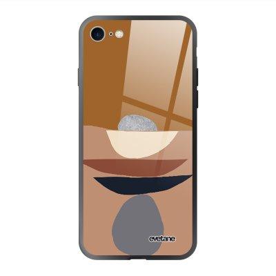 Coque en verre trempé iPhone 7/8/ iPhone SE 2020 Déco de pierres Ecriture Tendance et Design Evetane.