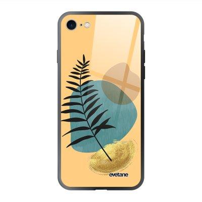 Coque en verre trempé iPhone 7/8/ iPhone SE 2020 Feuille noir et pierre bleue Ecriture Tendance et Design Evetane.