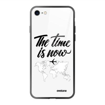 Coque en verre trempé iPhone 7/8/ iPhone SE 2020 The time is Now Ecriture Tendance et Design Evetane.