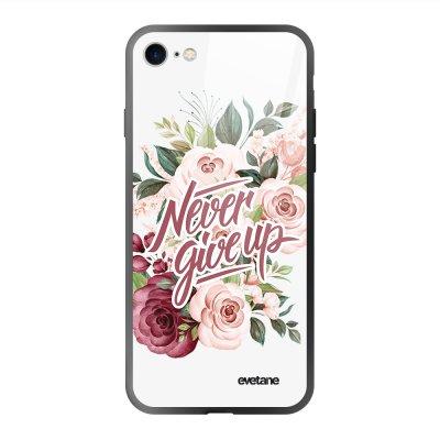 Coque en verre trempé iPhone 7/8/ iPhone SE 2020 Never give up Ecriture Tendance et Design Evetane.