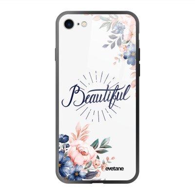 Coque en verre trempé iPhone 7/8/ iPhone SE 2020 Beautiful Ecriture Tendance et Design Evetane.