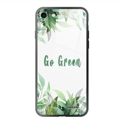 Coque en verre trempé iPhone 7/8/ iPhone SE 2020 Go green Ecriture Tendance et Design Evetane.
