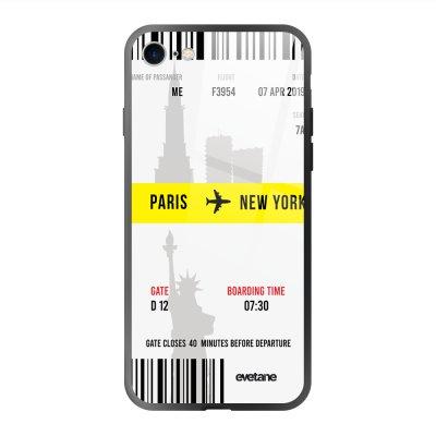 Coque en verre trempé iPhone 7/8/ iPhone SE 2020 Blllet Paris-New York Ecriture Tendance et Design Evetane.